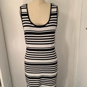 Bar III - Knit B&W Sleeveless Stripe Dress